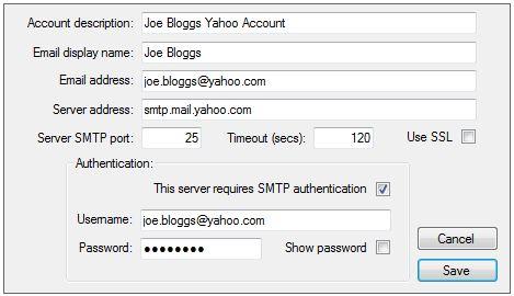mail yahoo smtp